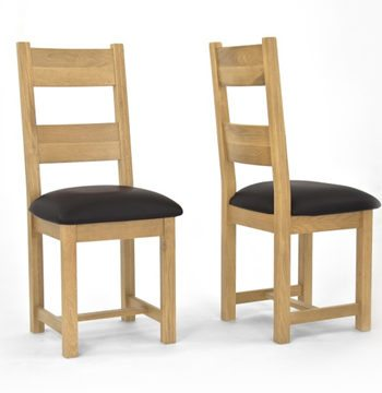 Provence Oak Dining Chair Chocolate Brown Faux Leather Seat PAIR