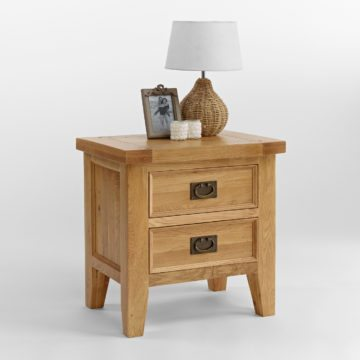 Elegance Oak 2 Drawer Lamp Table