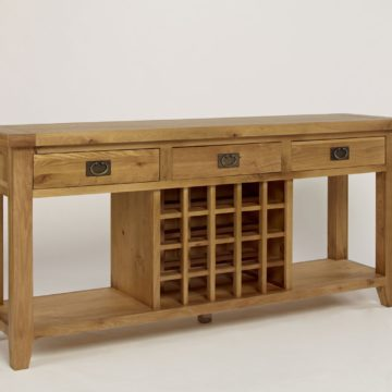 Provence Oak 3 Drawer Console Table Wine Rack