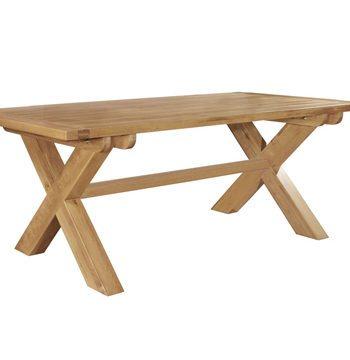 Provence Oak Fixed Top Dining Table Cross Leg 210 cm