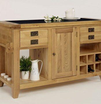 Provence Oak Granite Top Kitchen Island Unit