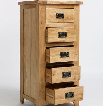 Westbury Reclaimed Oak 5 Drawer Wellington