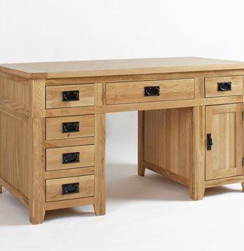 Westbury Reclaimed Oak Double Pedestal Desk