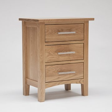 Hereford Oak 3 Drawer Bedside 1
