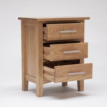 Hereford Oak 3 Drawer Bedside