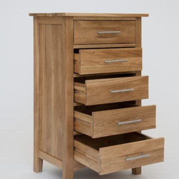 Hereford Oak 5 Drawer Slim Chest