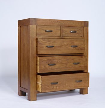 Santana Rustic Oak 2 Over 3 Drawer Chest