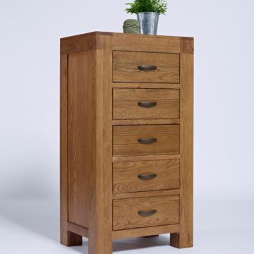 Santana Rustic Oak 5 Drawer Wellington