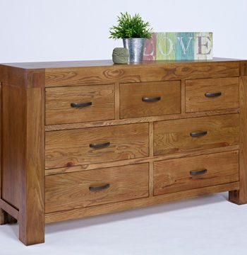 Santana Rustic Oak 7 Drawer Wide Chest