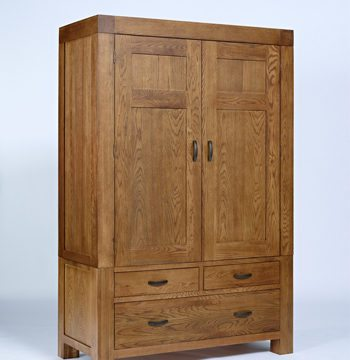 Santana Rustic Oak Double Wardrobe