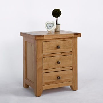 Devon Oak 3 Drawer Bedside