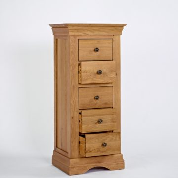 Normandy Oak 5 Drawer Wellington