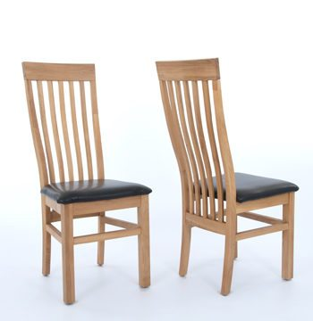 Sherwood Oak Dining Chair With Black Seat PAIR