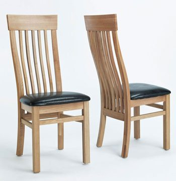Sherwood Oak Dining Chair With Brown Seat PAIR