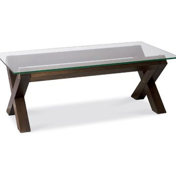 Lyon Walnut Glass Coffee Table