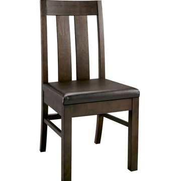 Lyon Walnut Slatted Chair Brown Faux Leather PAIR