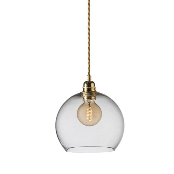 Rowan Pendant Lamp 22cm Clear Brass