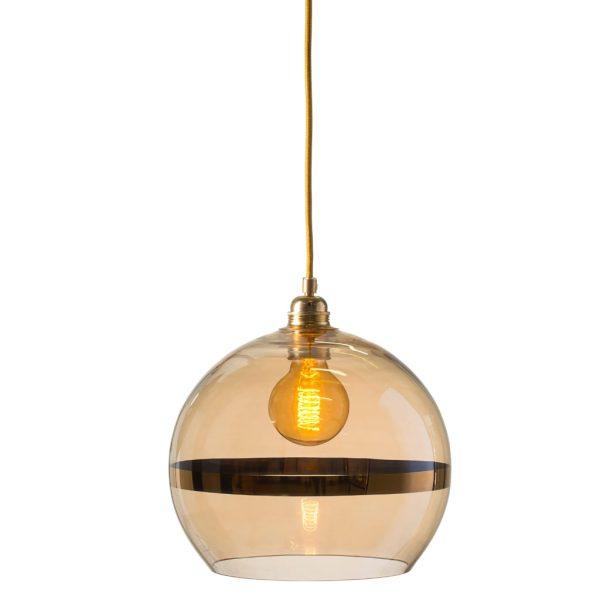 Rowan Pendant Lamp 28cm Stripe Gold Stripe on Gold