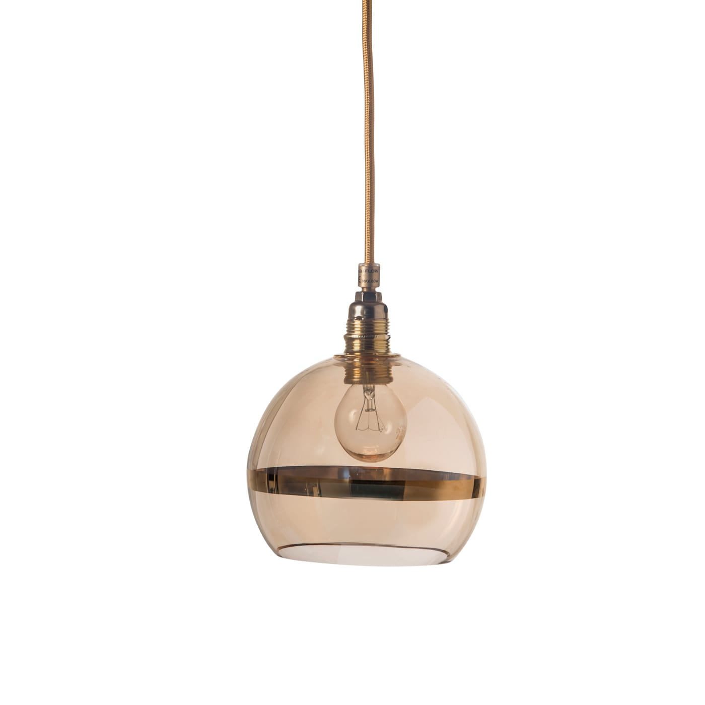 Rowan Pendant Lamp Gold Stripe on Gold, 15cm