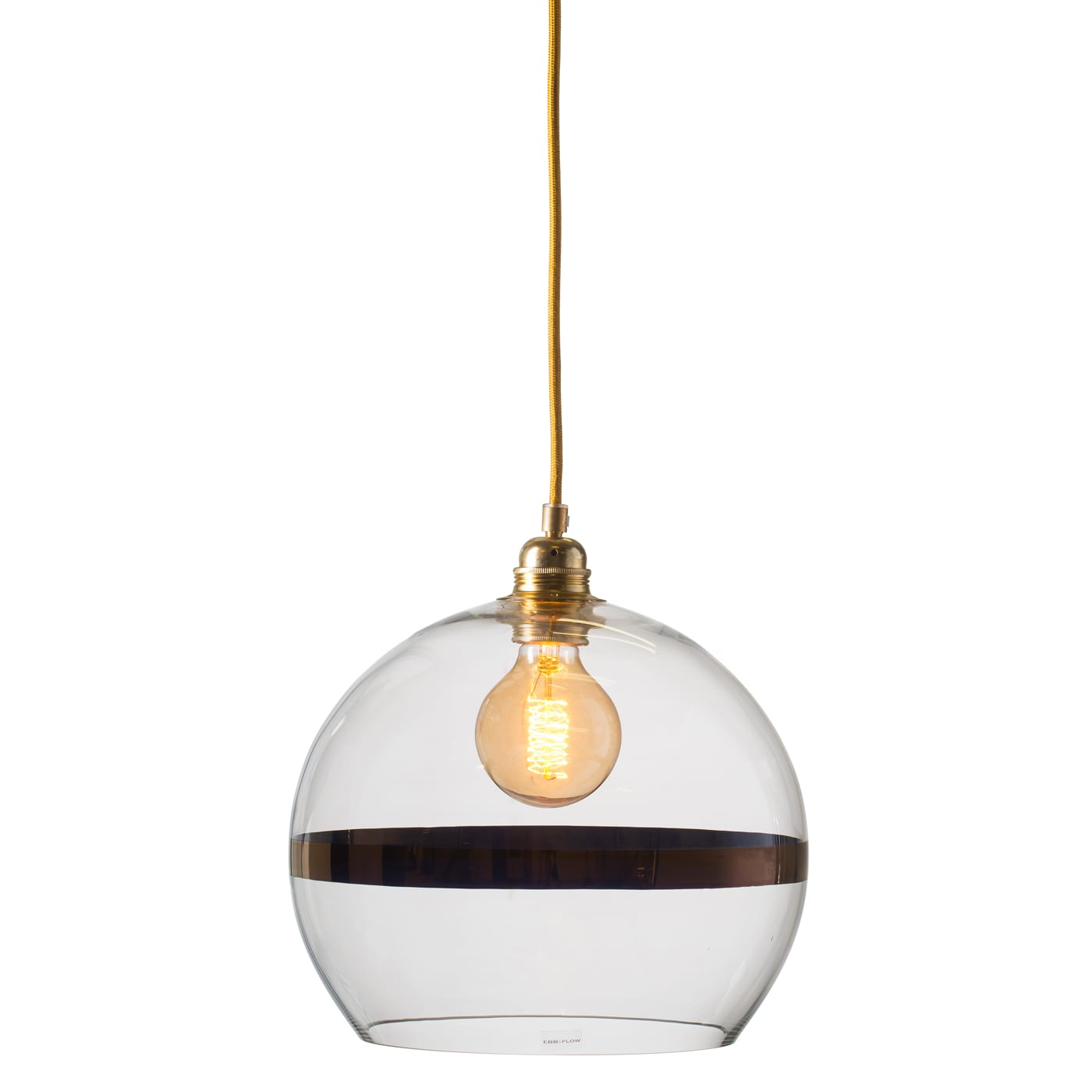 Rowan pendant lamp, copper stripe on clear, 28cm 1