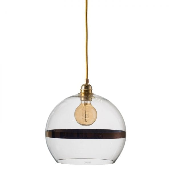 Rowan pendant lamp, copper stripe on clear, 28cm