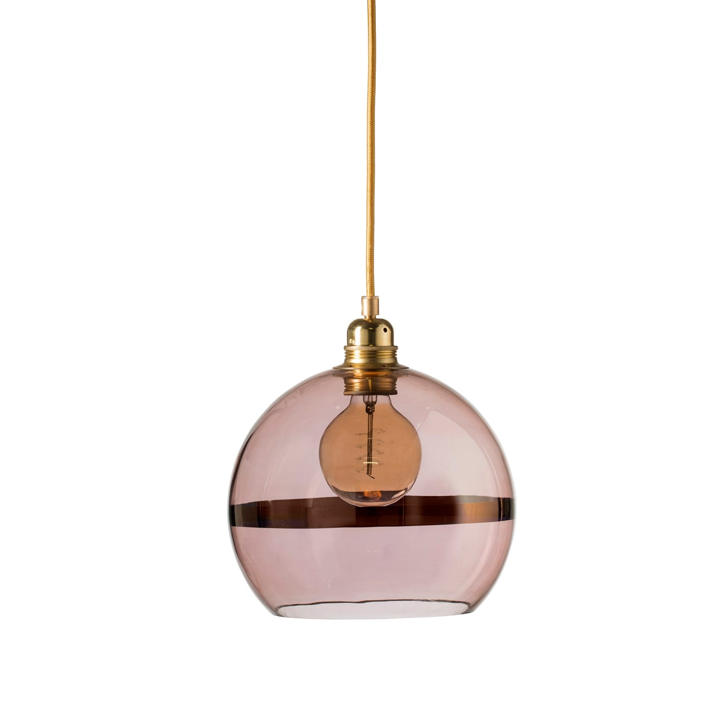 Rowan pendant lamp, copper stripe on obsidian, 22cm