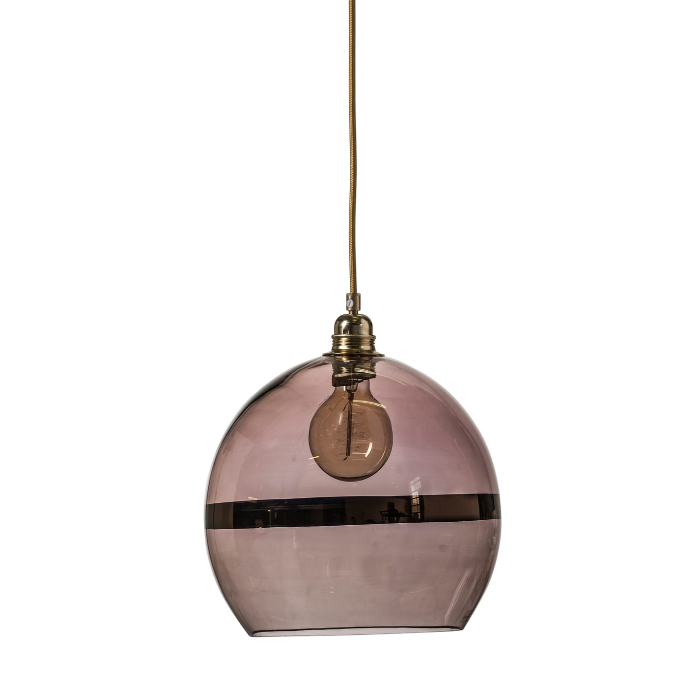 Rowan pendant lamp, copper stripe on obsidian, 28cm