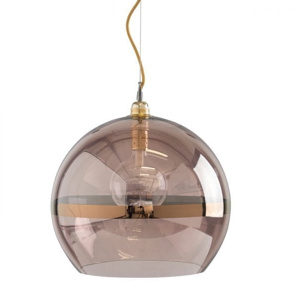 Rowan pendant lamp, copper stripe on obsidian, 39cm
