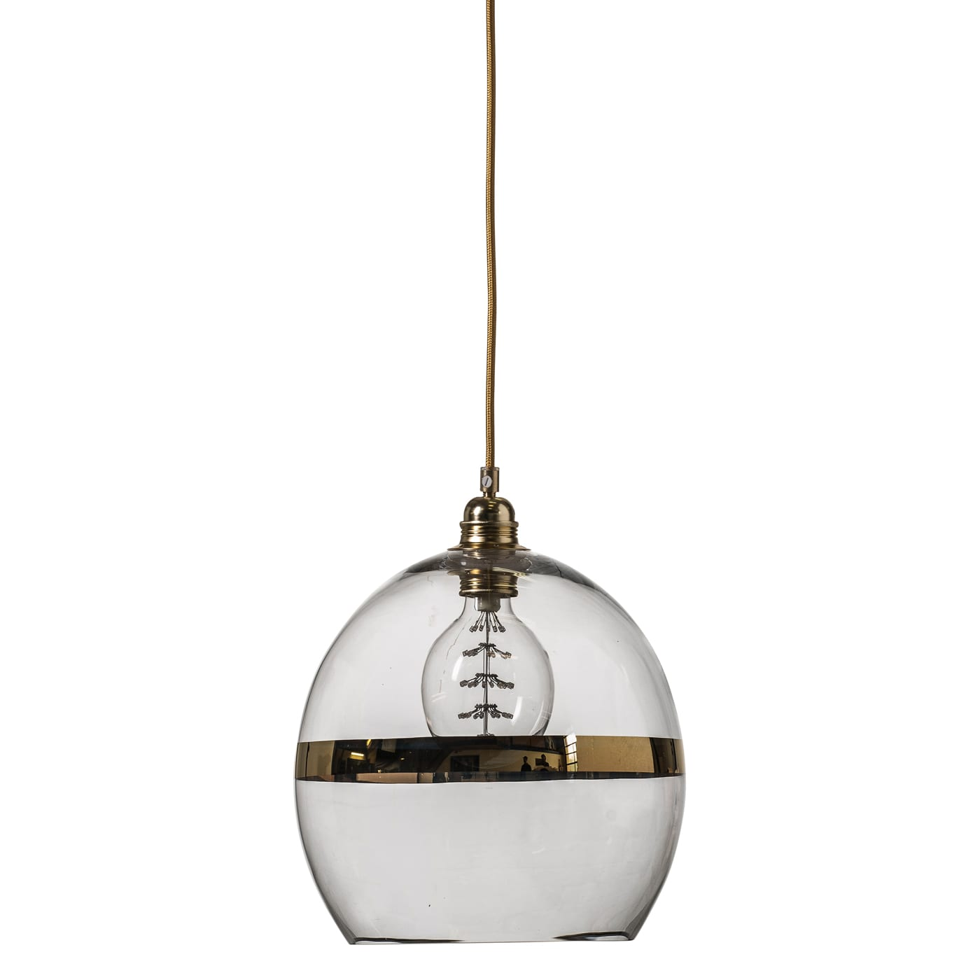 Rowan pendant lamp, gold stripe on clear, 28cm
