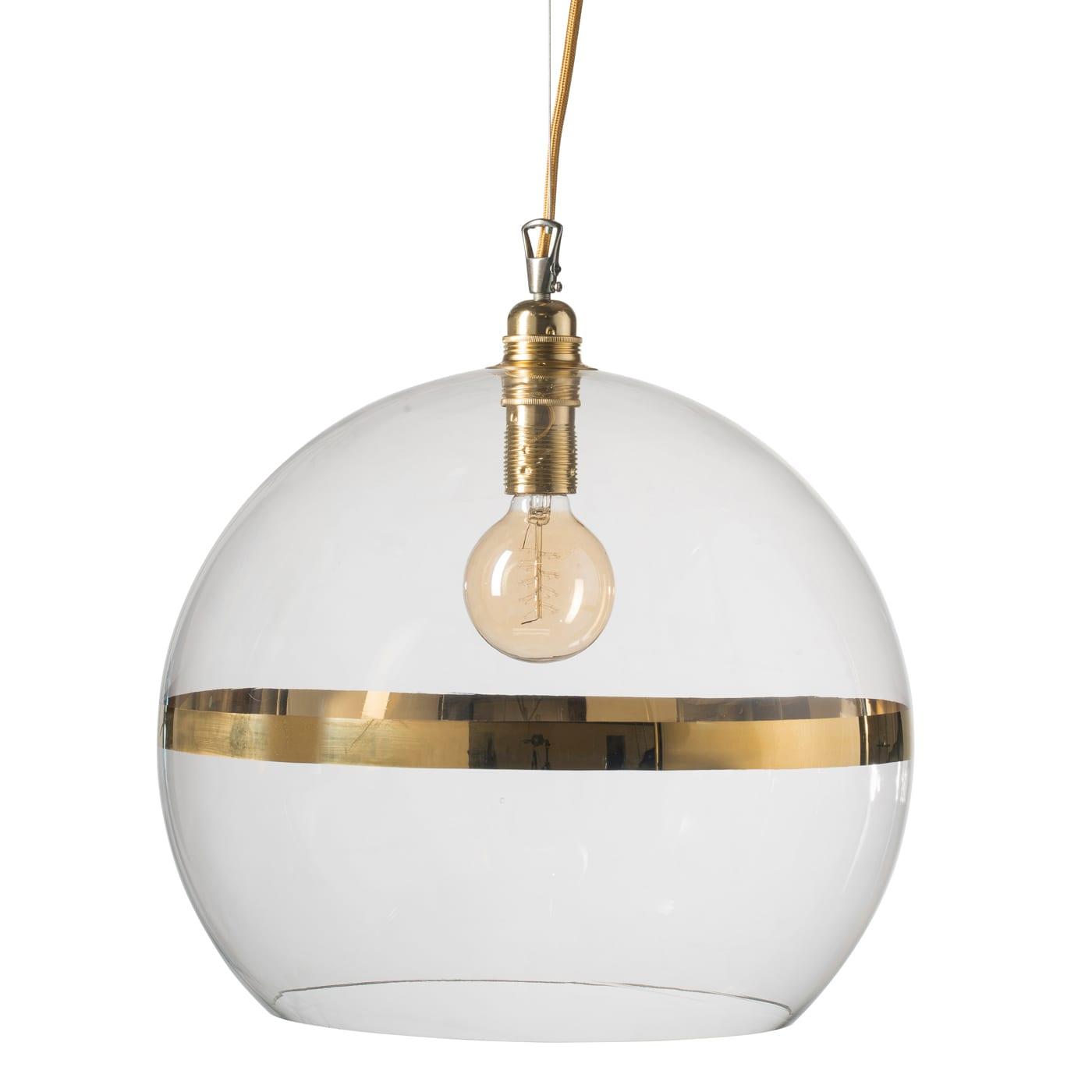 Rowan pendant lamp, gold stripe on clear, 39cm