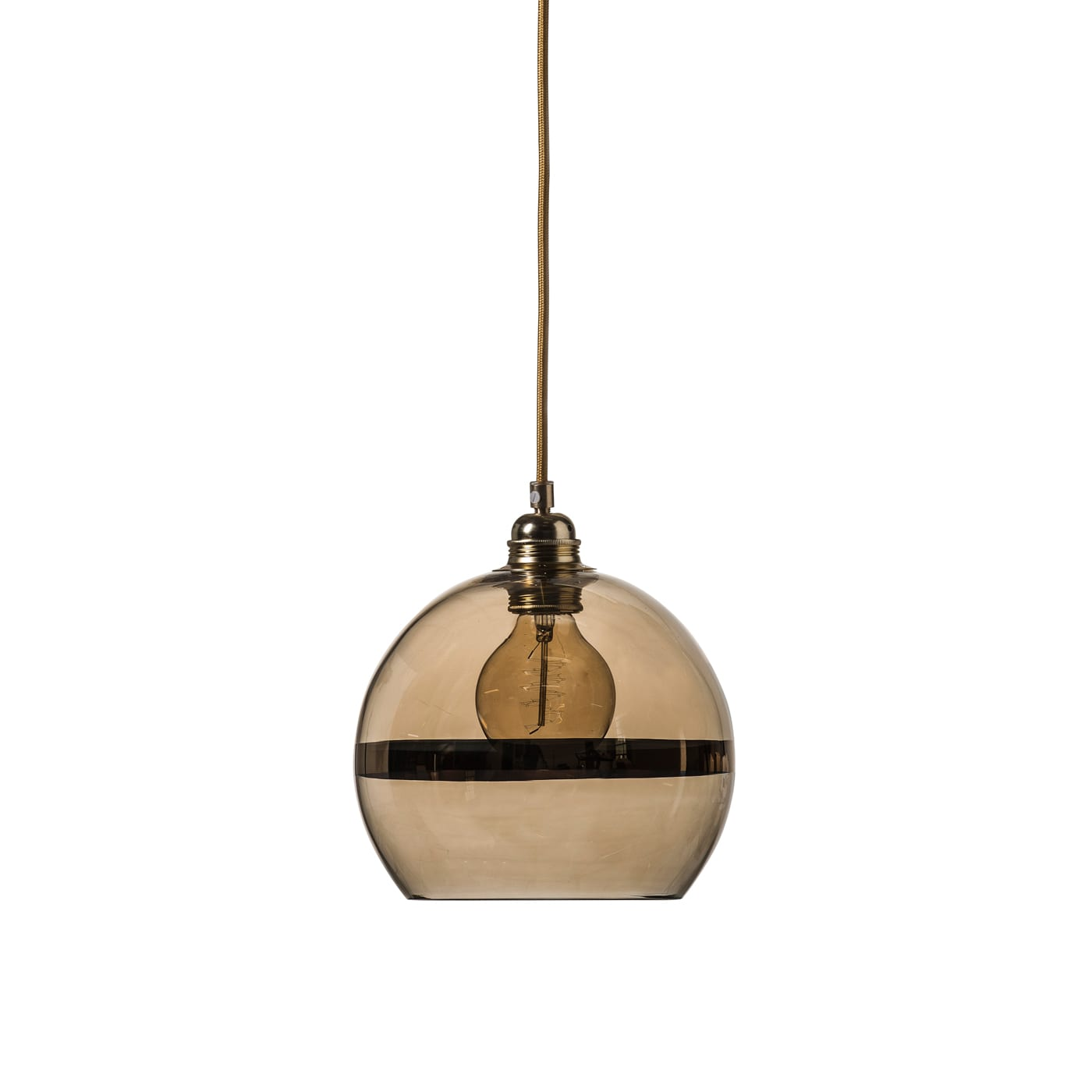 Rowan pendant lamp, gold stripe on gold, 22cm