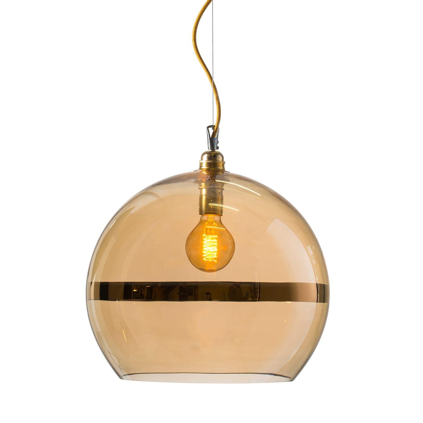 Rowan pendant lamp, gold stripe on gold, 39cm