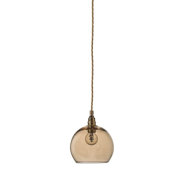 Rowan pendant lamp, golden smoke, 15cm