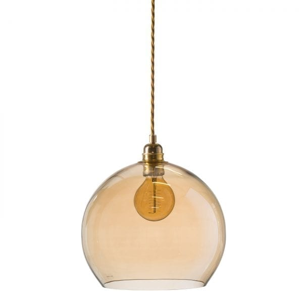 Rowan pendant lamp, golden smoke, 28cm