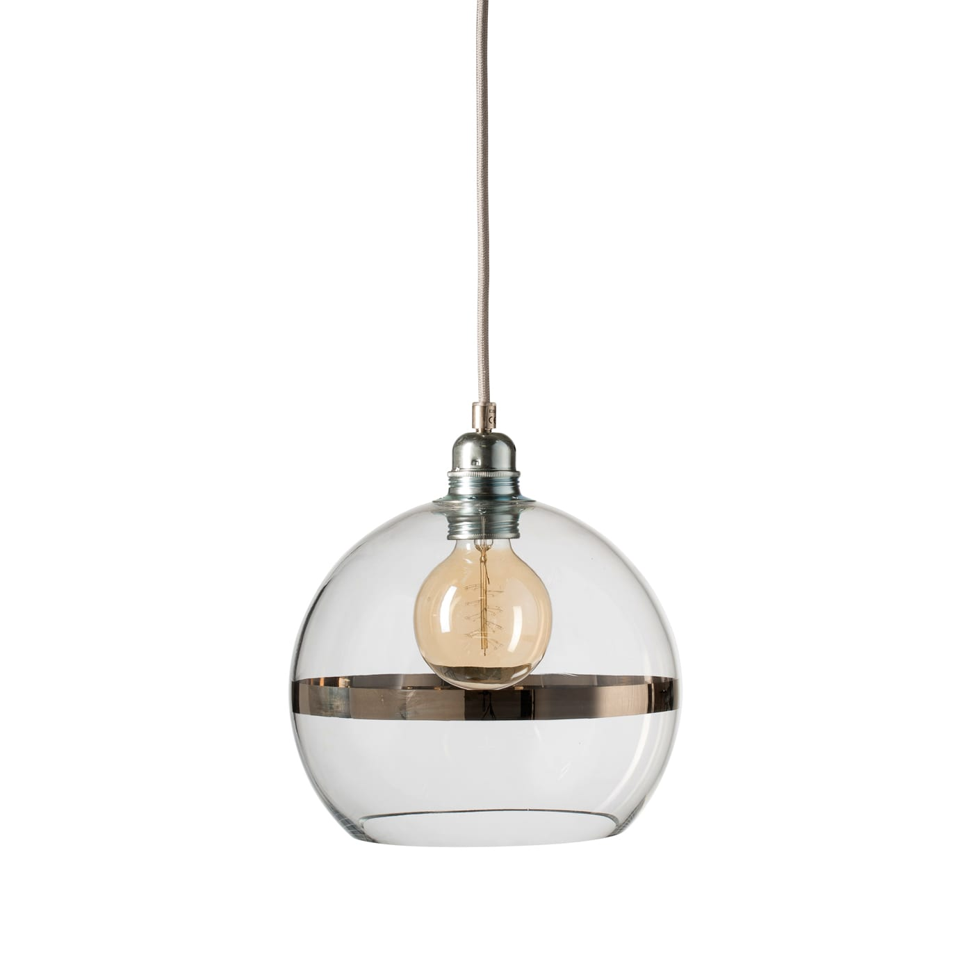 Rowan pendant lamp, platinum stripe on clear, 22cm