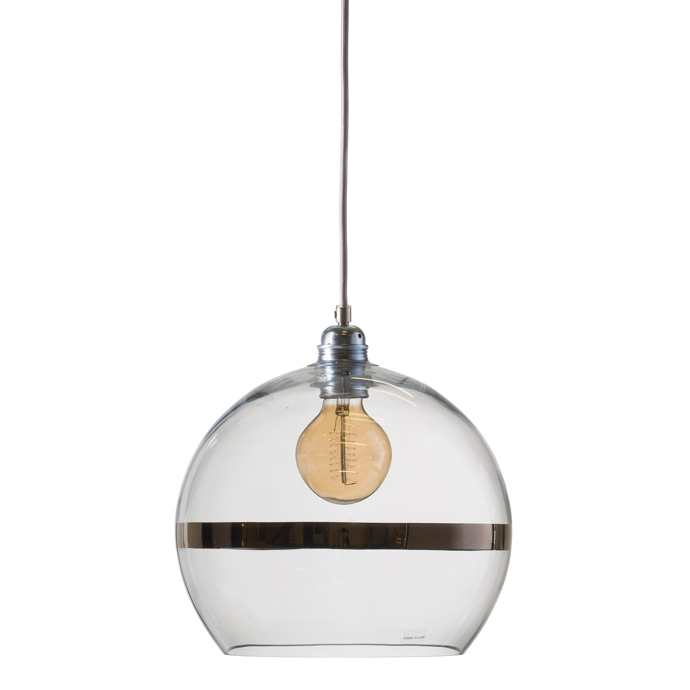 Rowan pendant lamp, platinum stripe on clear 28cm, 1