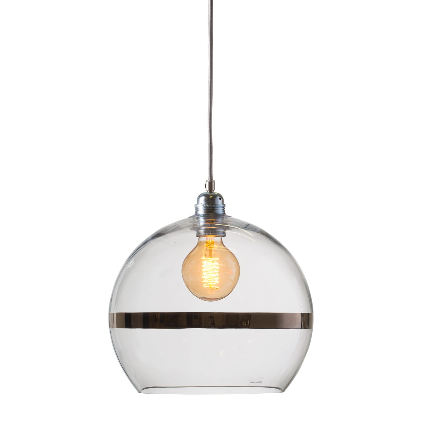 Rowan pendant lamp, platinum stripe on clear, 28cm