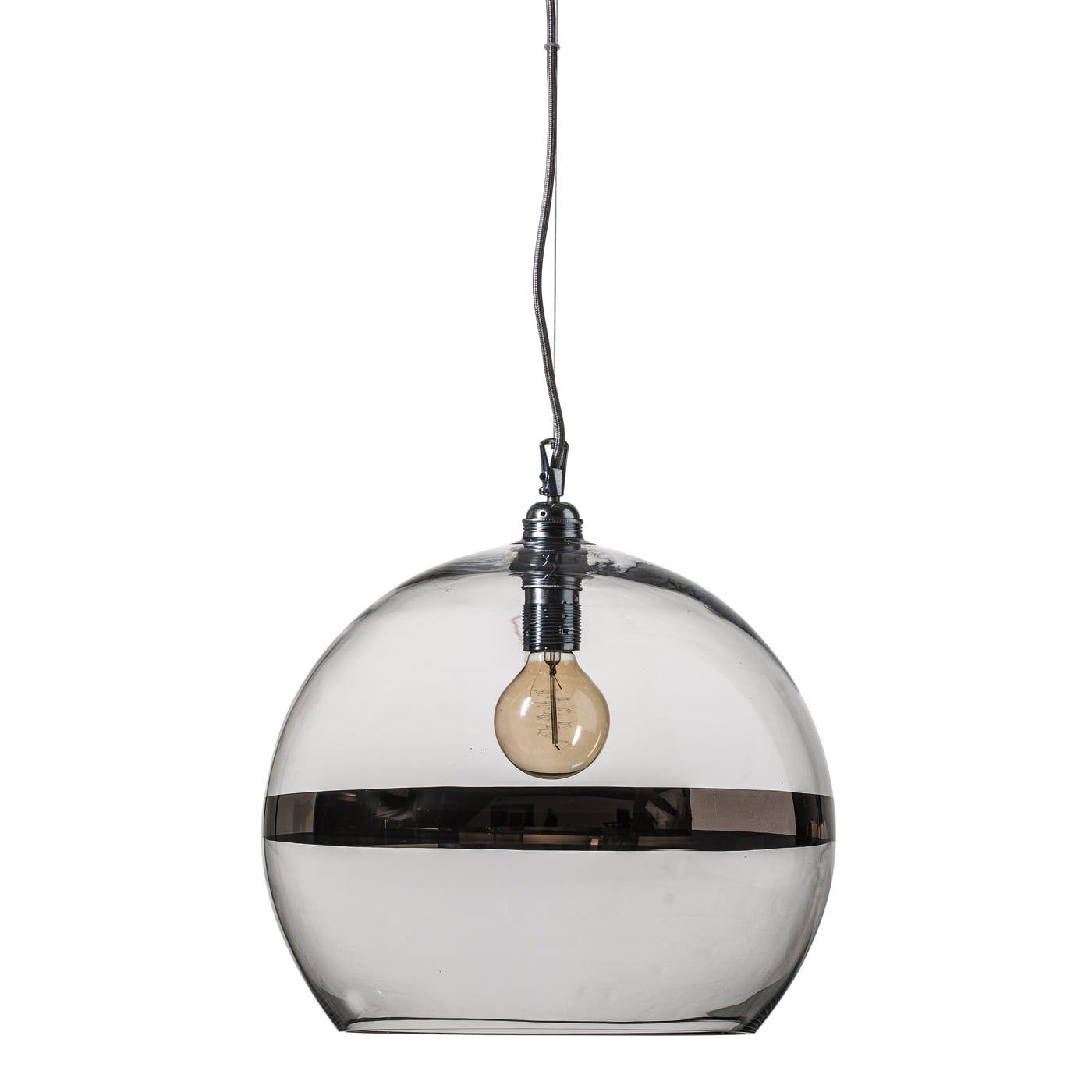 Rowan pendant lamp, platinum stripe on clear, 39cm