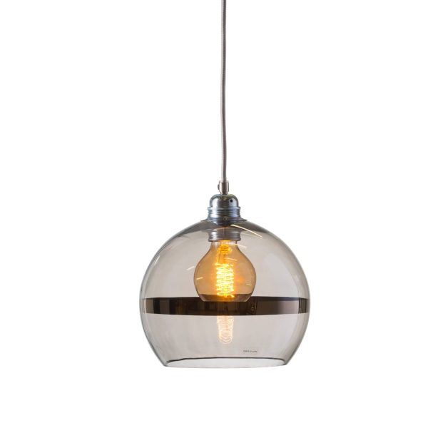 Rowan pendant lamp, gold stripe on clear, 22cm