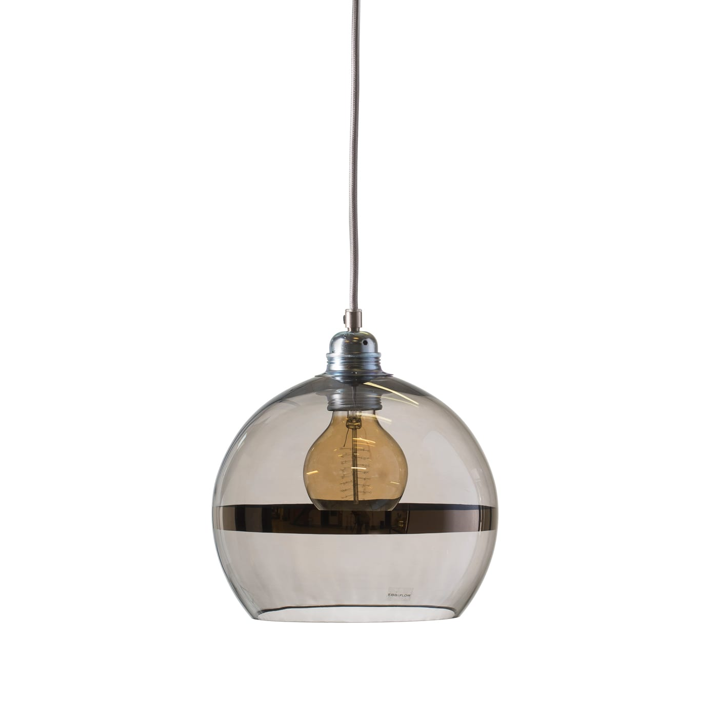 Rowan pendant lamp, platinum stripe on grey, 22cm