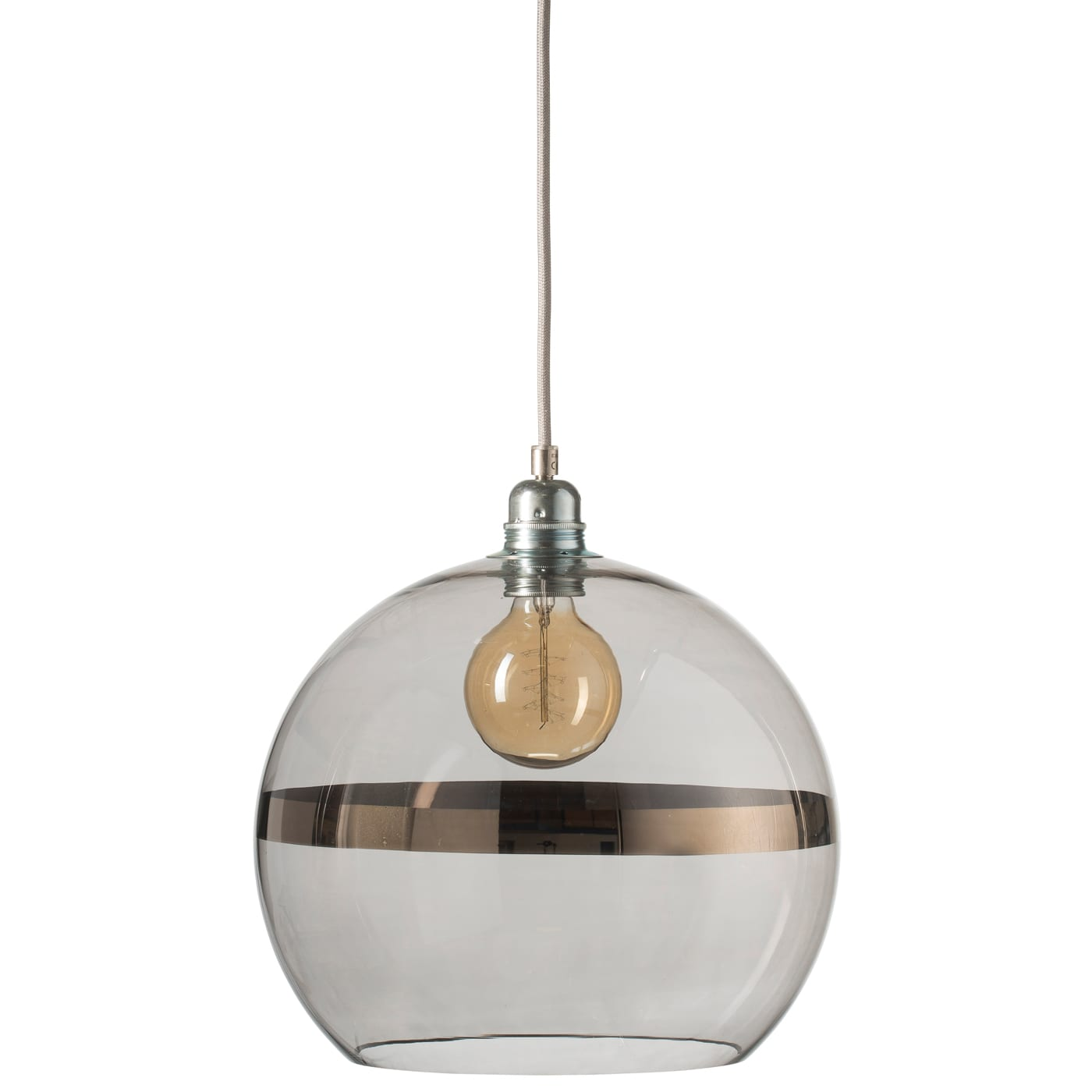 Rowan pendant lamp, platinum stripe on grey, 28cm