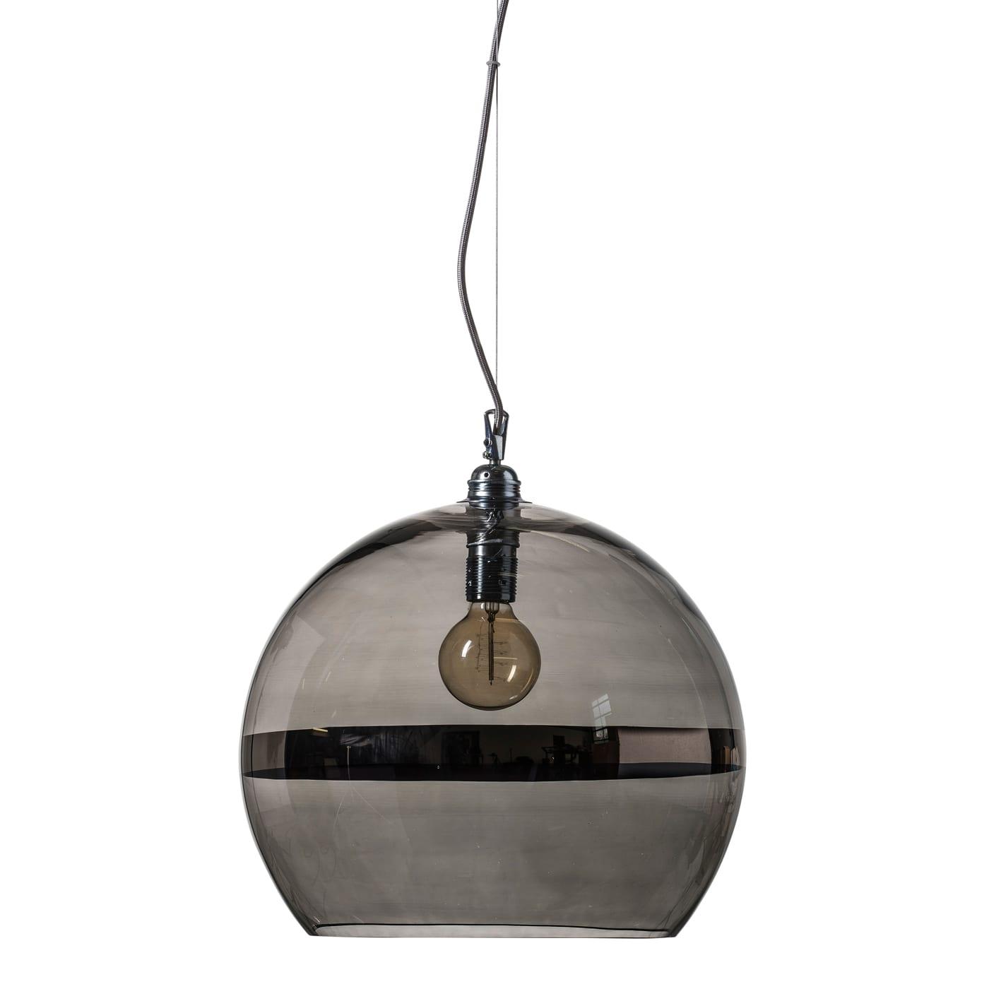 Rowan pendant lamp, platinum stripe on grey, 39cm