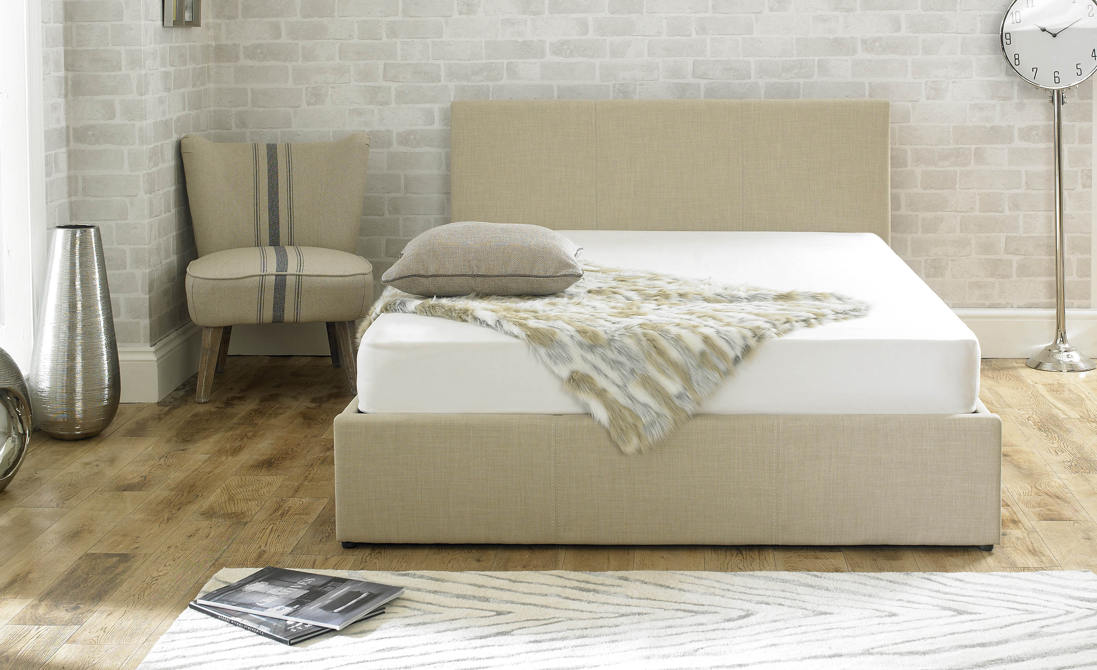 Stirling Fabric Ottoman Bed Wheat