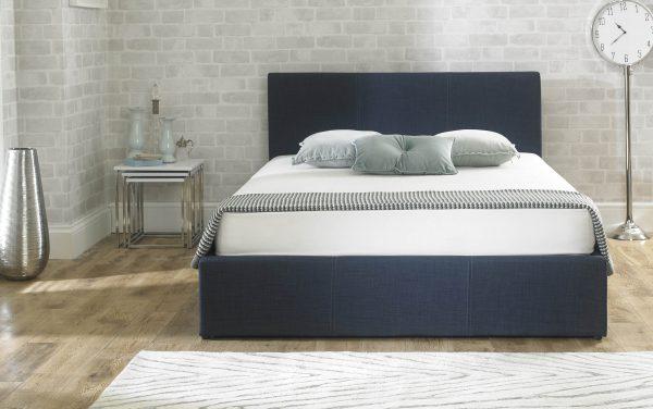Stirling Fabric Ottoman Bed Denim Blue
