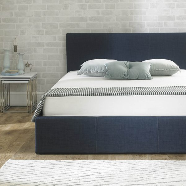Stirling Fabric Ottoman Bed Denim Blue