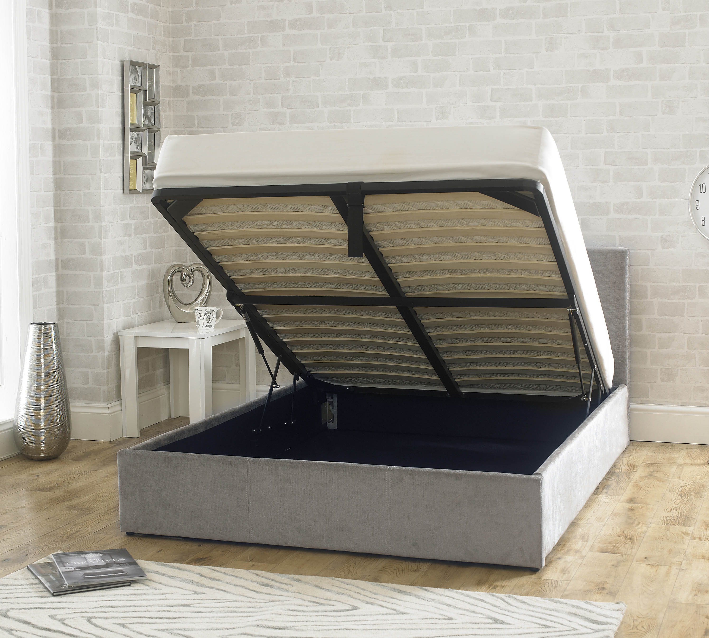 Stirling Fabric Ottoman Bed Natural Stone