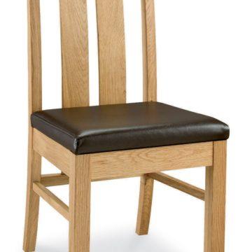 Lyon Oak Slatted Chair Brown Faux Leather