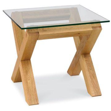 Lyon Oak Glass Lamp Table