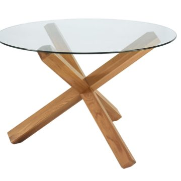 Lyon Oak Glass Top Round Table