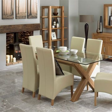 Lyon Oak Glass Dining Table